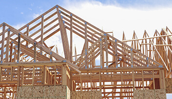 Stock photo of ruff trusses during construction