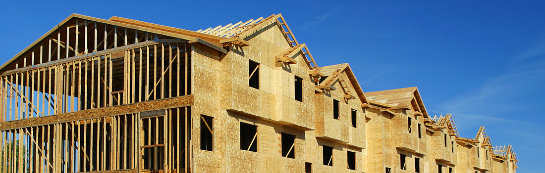 stock photo - framed structure for townhomes