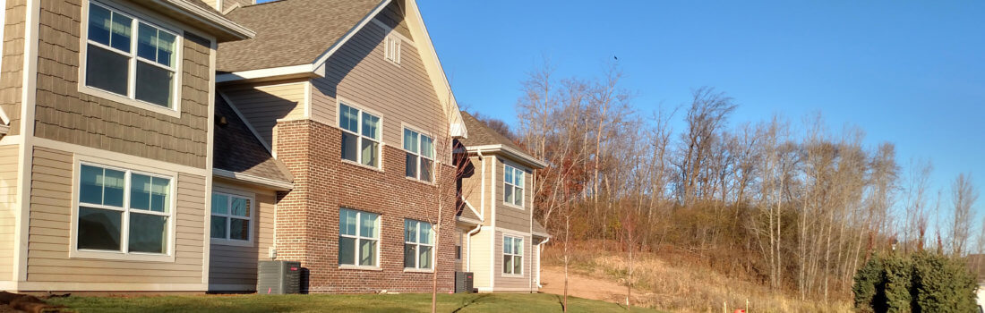 Exterior photo of Keystone Crossing, a workforce housing townhome development in Lakeville.